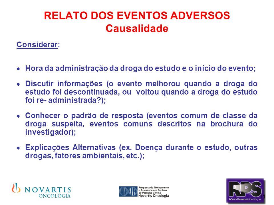 11 RELATO DOS EVENTOS ADVERSOS Causalidade Considerar:  Hora da administração da droga do estudo e o início do evento;  Discutir informações (o even