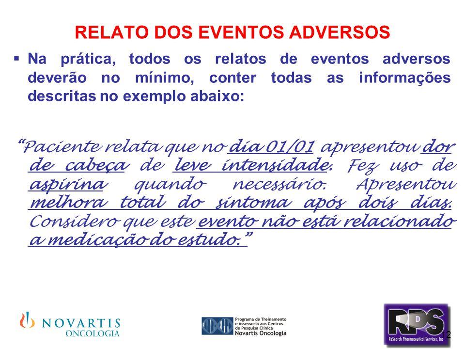 12 RELATO DOS EVENTOS ADVERSOS  Na prática, todos os relatos de eventos adversos deverão no mínimo, conter todas as informações descritas no exemplo