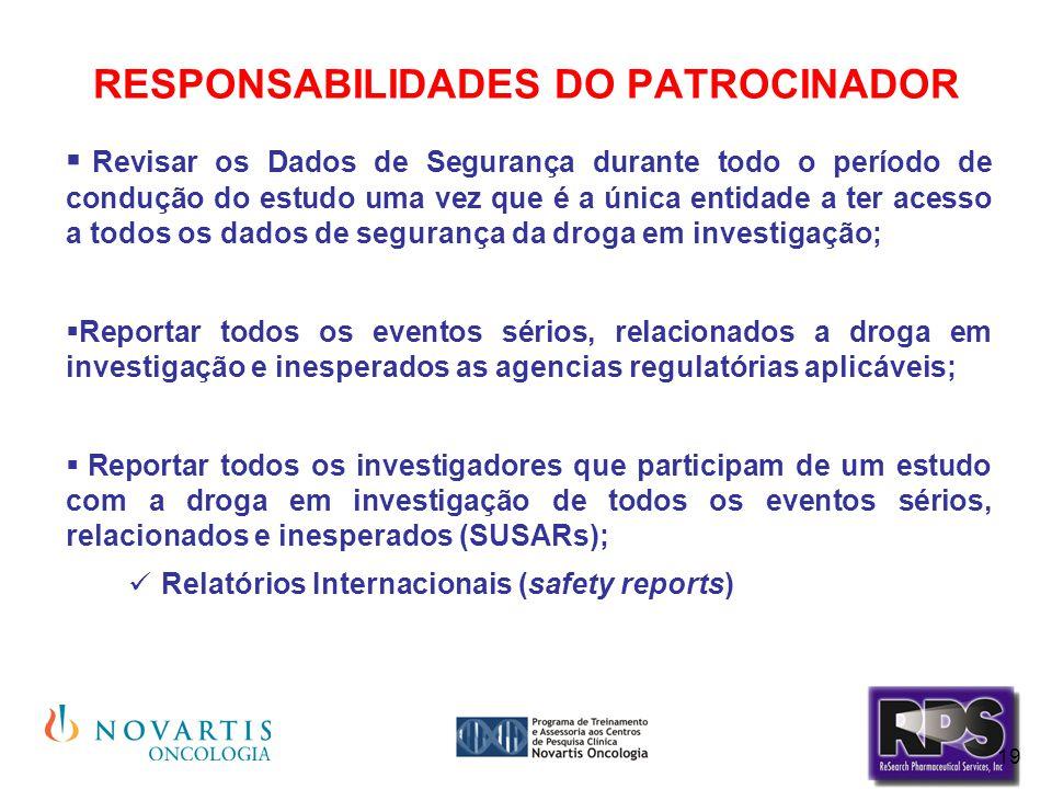 19 RESPONSABILIDADES DO PATROCINADOR  Revisar os Dados de Segurança durante todo o período de condução do estudo uma vez que é a única entidade a ter
