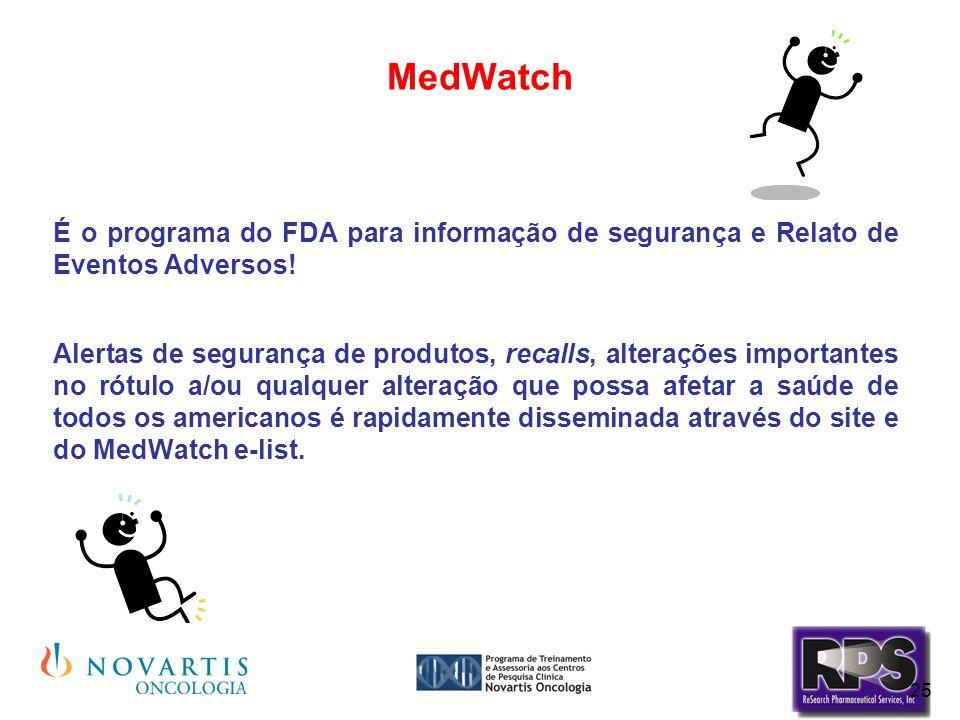 25 MedWatch É o programa do FDA para informação de segurança e Relato de Eventos Adversos! Alertas de segurança de produtos, recalls, alterações impor