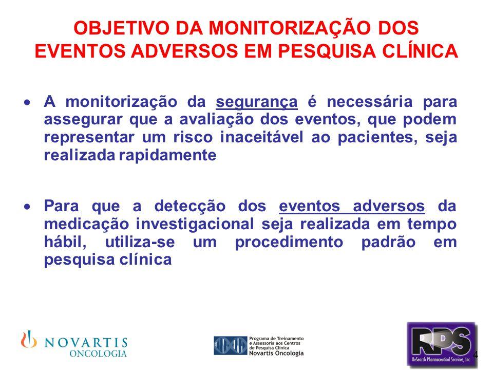 4 OBJETIVO DA MONITORIZAÇÃO DOS EVENTOS ADVERSOS EM PESQUISA CLÍNICA  A monitorização da segurança é necessária para assegurar que a avaliação dos ev