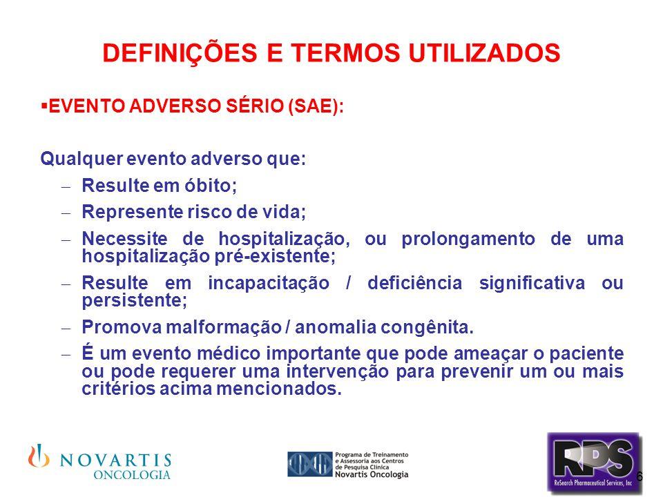 6 DEFINIÇÕES E TERMOS UTILIZADOS  EVENTO ADVERSO SÉRIO (SAE): Qualquer evento adverso que:  Resulte em óbito;  Represente risco de vida;  Necessit