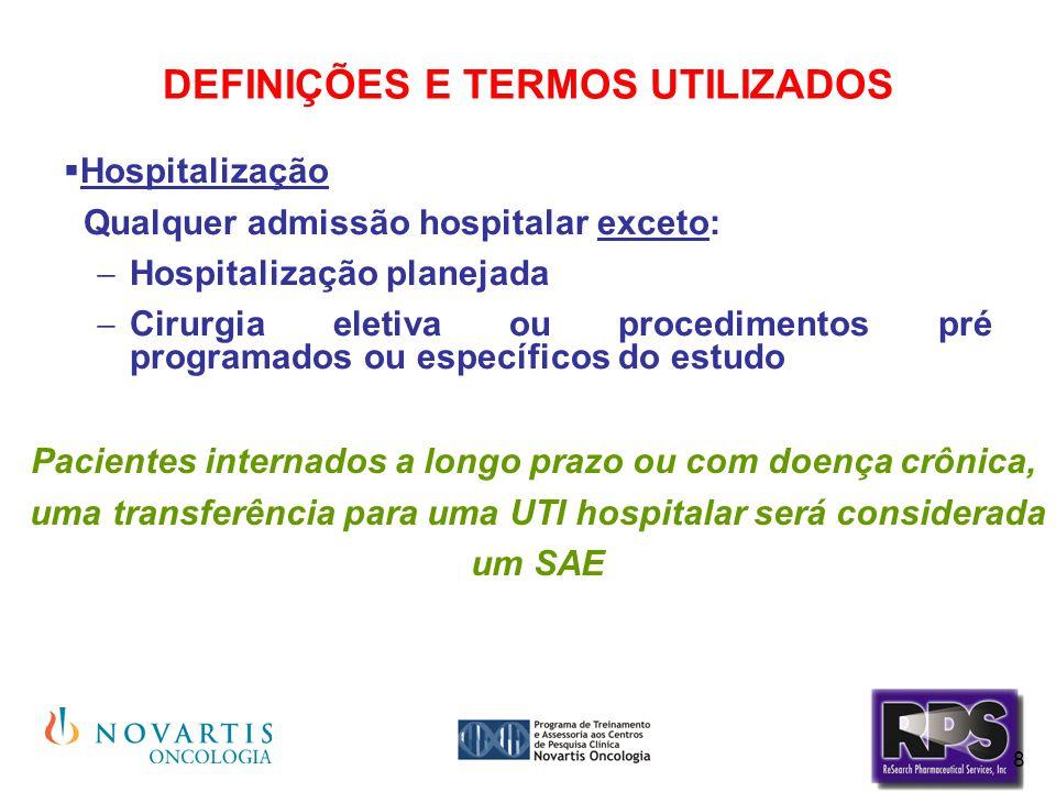 8 DEFINIÇÕES E TERMOS UTILIZADOS  Hospitalização Qualquer admissão hospitalar exceto:  Hospitalização planejada  Cirurgia eletiva ou procedimentos