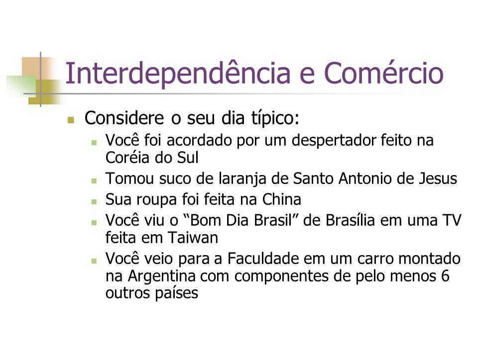 Interdependência e Comércio Lembre-se!!.
