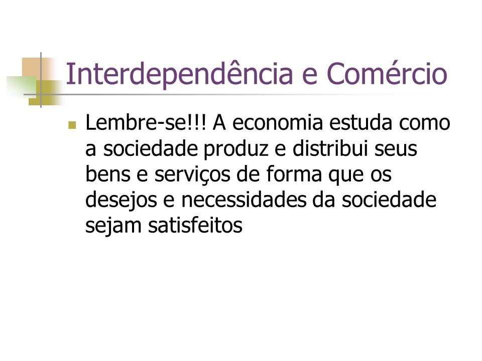 Interdependência e Comércio Lembre-se!!! A economia estuda como a sociedade produz e distribui seus bens e serviços de forma que os desejos e necessid