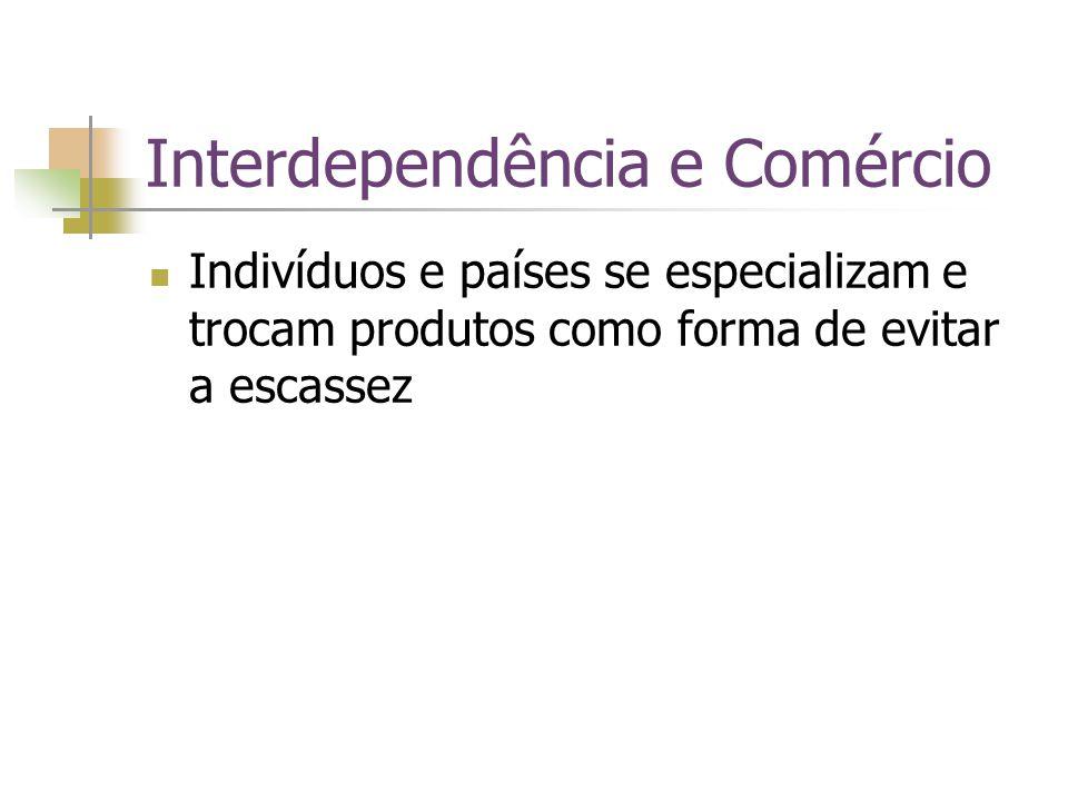 Interdependência e Comércio Indivíduos e países se especializam e trocam produtos como forma de evitar a escassez
