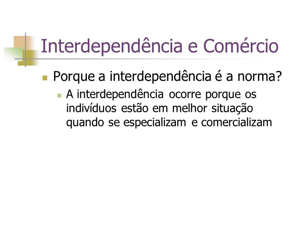 Interdependência e Comércio Porque a interdependência é a norma? A interdependência ocorre porque os indivíduos estão em melhor situação quando se esp