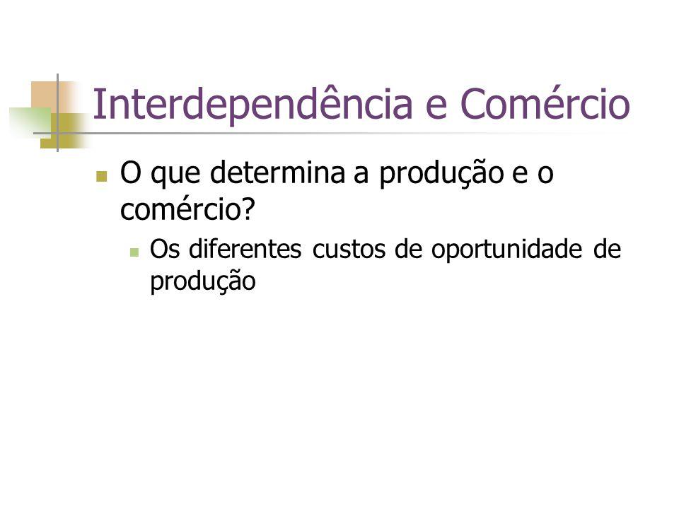 Interdependência e Comércio O que determina a produção e o comércio? Os diferentes custos de oportunidade de produção