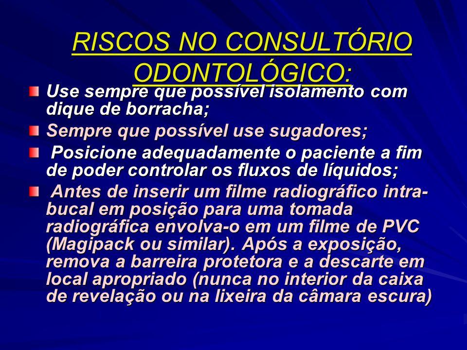 RISCOS PROVENIENTES DO AMBIENTE DE CONSULTÓRIO Aerossóis : produzidos pelos motores de alta-rotação, raspadores ultra- sônicos e pelas seringas trícip