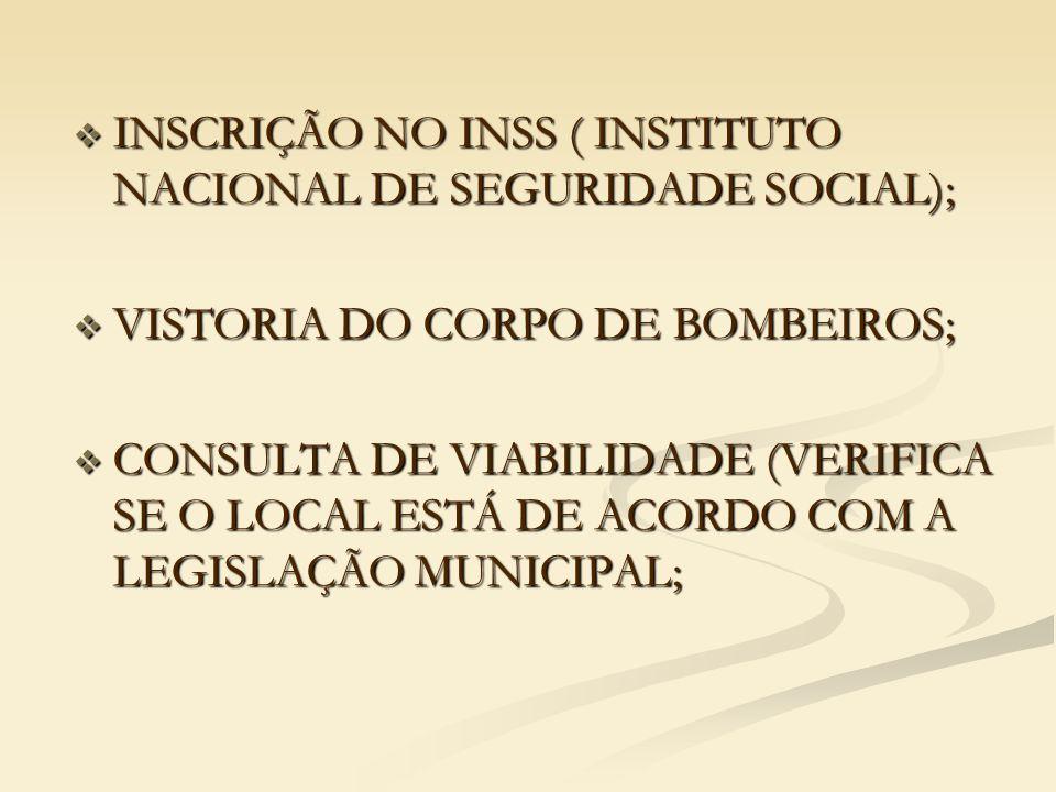  INSCRIÇÃO NO INSS ( INSTITUTO NACIONAL DE SEGURIDADE SOCIAL);  VISTORIA DO CORPO DE BOMBEIROS;  CONSULTA DE VIABILIDADE (VERIFICA SE O LOCAL ESTÁ DE ACORDO COM A LEGISLAÇÃO MUNICIPAL;