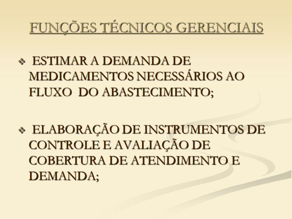 FUNÇÕES TÉCNICOS GERENCIAIS  ESTIMAR A DEMANDA DE MEDICAMENTOS NECESSÁRIOS AO FLUXO DO ABASTECIMENTO;  ELABORAÇÃO DE INSTRUMENTOS DE CONTROLE E AVALIAÇÃO DE COBERTURA DE ATENDIMENTO E DEMANDA;