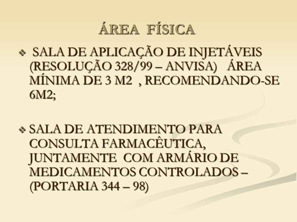 ÁREA FÍSICA  SALA DE APLICAÇÃO DE INJETÁVEIS (RESOLUÇÃO 328/99 – ANVISA) ÁREA MÍNIMA DE 3 M2, RECOMENDANDO-SE 6M2;  SALA DE ATENDIMENTO PARA CONSULTA FARMACÊUTICA, JUNTAMENTE COM ARMÁRIO DE MEDICAMENTOS CONTROLADOS – (PORTARIA 344 – 98)