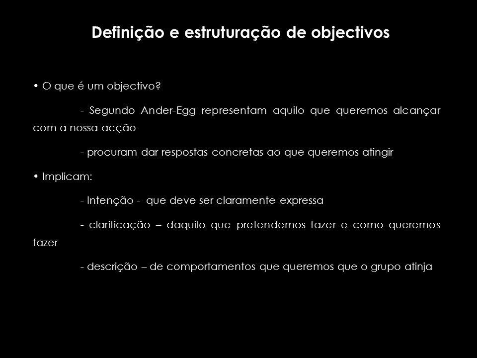 Os objectivos, segundo Espinoza, bem formulados, deverão ser: - claros - realistas - pertinentes Para Cembranos, eles deverão ser: - coerentes - motivadores - participativos - concretos - avaliáveis