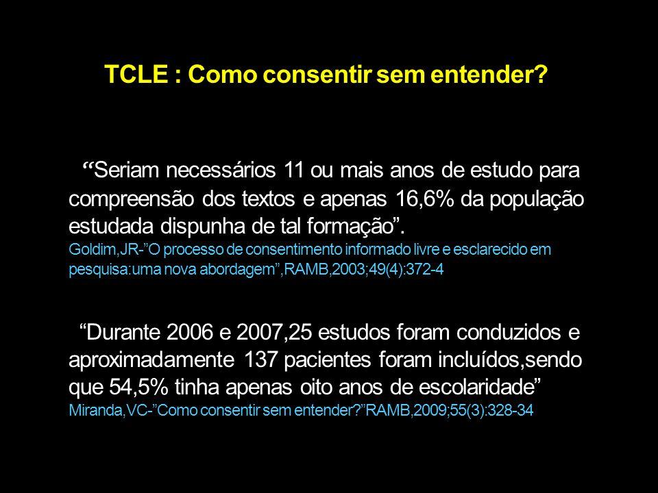 """TCLE : Como consentir sem entender? """" Seriam necessários 11 ou mais anos de estudo para compreensão dos textos e apenas 16,6% da população estudada di"""