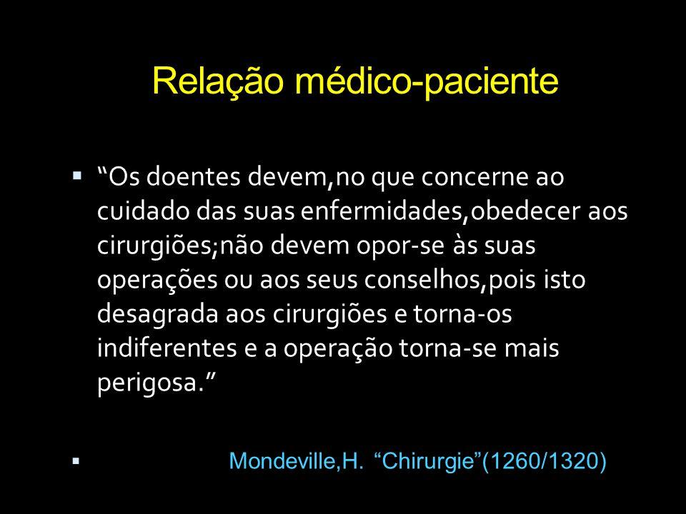 """Relação médico-paciente  """"Os doentes devem,no que concerne ao cuidado das suas enfermidades,obedecer aos cirurgiões;não devem opor-se às suas operaçõ"""