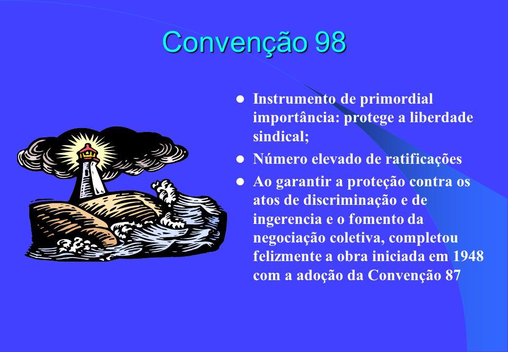 Convenção 98 Instrumento de primordial importância: protege a liberdade sindical; Número elevado de ratificações Ao garantir a proteção contra os atos de discriminação e de ingerencia e o fomento da negociação coletiva, completou felizmente a obra iniciada em 1948 com a adoção da Convenção 87