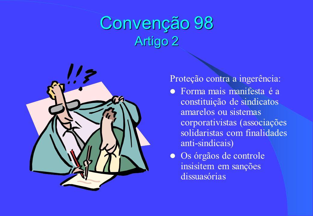 Convenção 98 Artigo 2 Proteção contra a ingerência: Forma mais manifesta é a constituição de sindicatos amarelos ou sistemas corporativistas (associações solidaristas com finalidades anti-sindicais) Os órgãos de controle insisitem em sanções dissuasórias