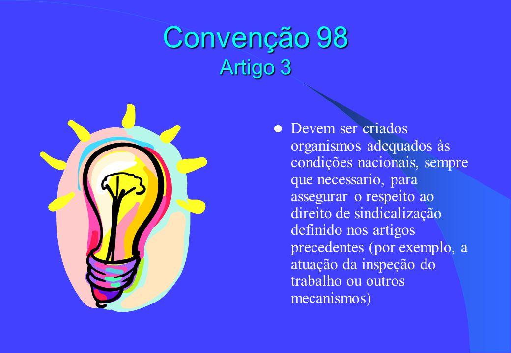 Convenção 98 Artigo 3 Devem ser criados organismos adequados às condições nacionais, sempre que necessario, para assegurar o respeito ao direito de sindicalização definido nos artigos precedentes (por exemplo, a atuação da inspeção do trabalho ou outros mecanismos)