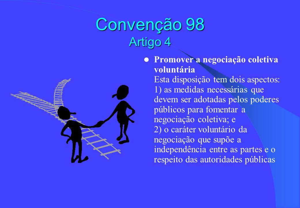 Convenção 98 Artigo 4 Promover a negociação coletiva voluntária Esta disposição tem dois aspectos: 1) as medidas necessárias que devem ser adotadas pelos poderes públicos para fomentar a negociação coletiva; e 2) o caráter voluntário da negociação que supõe a independência entre as partes e o respeito das autoridades públicas