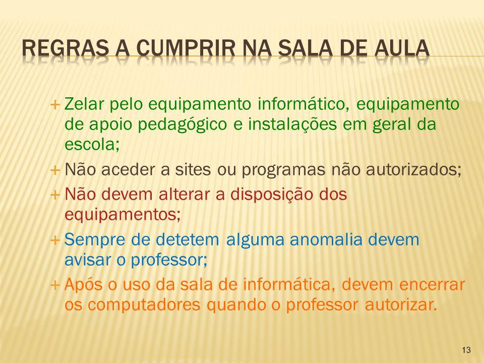  Zelar pelo equipamento informático, equipamento de apoio pedagógico e instalações em geral da escola;  Não aceder a sites ou programas não autoriza