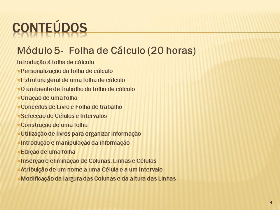 Módulo 5- Folha de Cálculo (20 horas) Introdução à folha de cálculo  Personalização da folha de cálculo  Estrutura geral de uma folha de cálculo  O