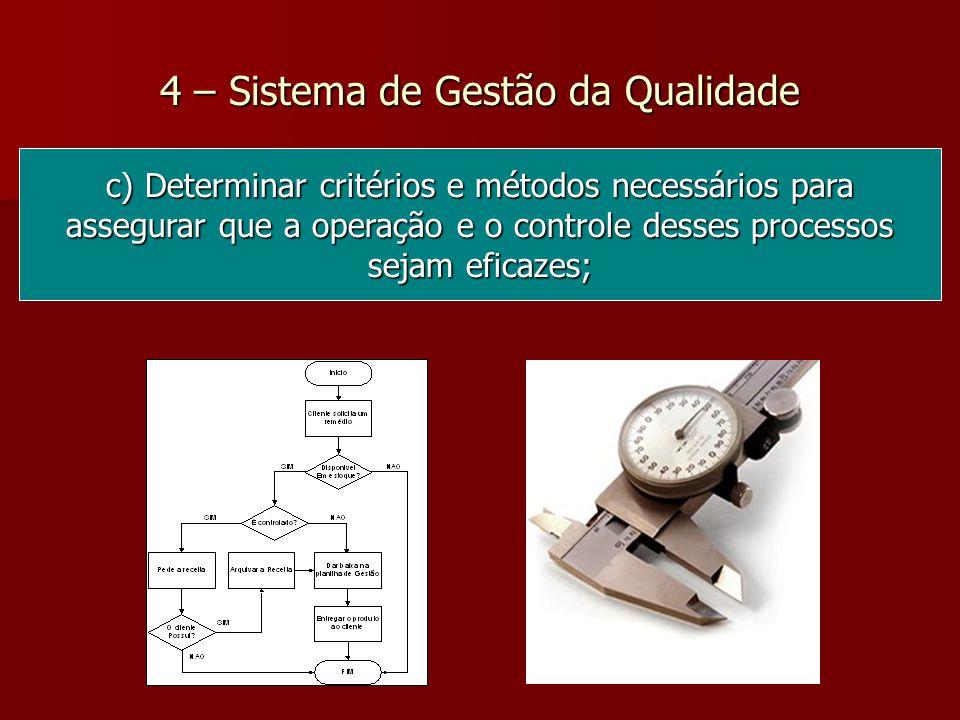 4 – Sistema de Gestão da Qualidade c) Determinar critérios e métodos necessários para assegurar que a operação e o controle desses processos sejam eficazes;