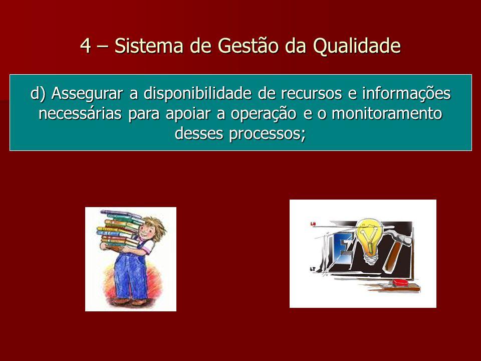 4 – Sistema de Gestão da Qualidade d) Assegurar a disponibilidade de recursos e informações necessárias para apoiar a operação e o monitoramento desses processos;