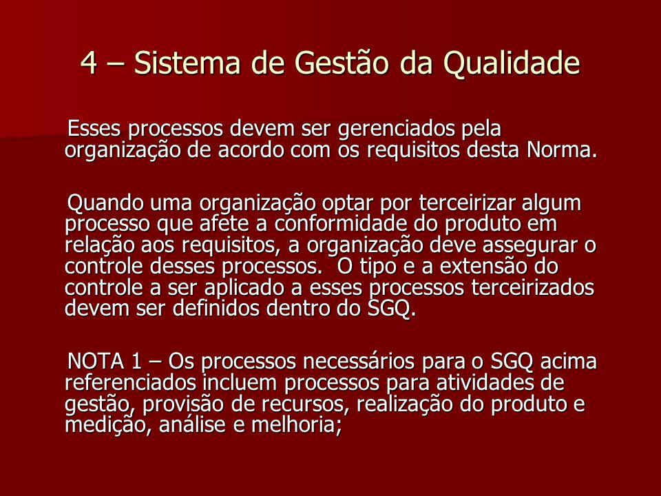 4 – Sistema de Gestão da Qualidade Esses processos devem ser gerenciados pela organização de acordo com os requisitos desta Norma.