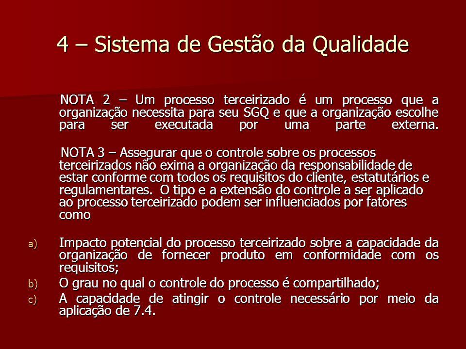 4 – Sistema de Gestão da Qualidade NOTA 2 – Um processo terceirizado é um processo que a organização necessita para seu SGQ e que a organização escolhe para ser executada por uma parte externa.