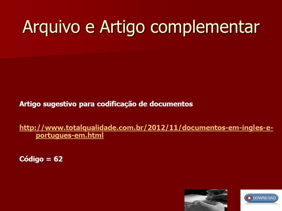 Arquivo e Artigo complementar Artigo sugestivo para codificação de documentos http://www.totalqualidade.com.br/2012/11/documentos-em-ingles-e- portugues-em.html Código = 62