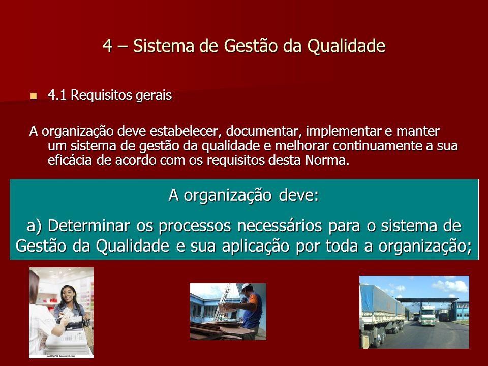 4 – Sistema de Gestão da Qualidade 4.1 Requisitos gerais 4.1 Requisitos gerais A organização deve estabelecer, documentar, implementar e manter um sistema de gestão da qualidade e melhorar continuamente a sua eficácia de acordo com os requisitos desta Norma.