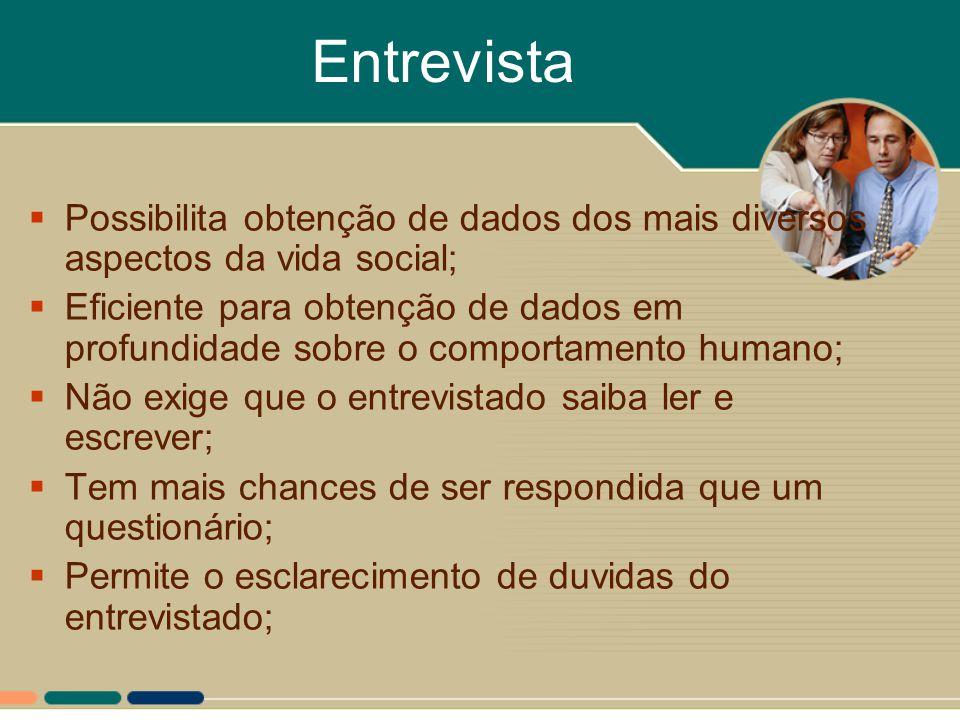 Entrevista  Possibilita obtenção de dados dos mais diversos aspectos da vida social;  Eficiente para obtenção de dados em profundidade sobre o compo