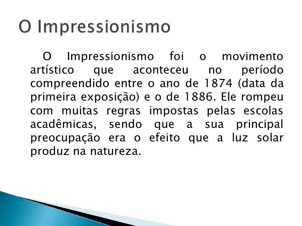 O Impressionismo foi o movimento artístico que aconteceu no período compreendido entre o ano de 1874 (data da primeira exposição) e o de 1886. Ele rom