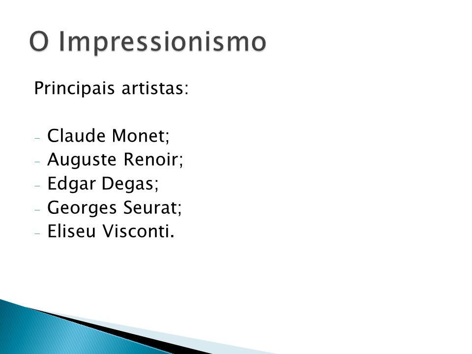 - Serão 3 grupos com 7 componentes e 2 com 6 componentes; - Valor: 6,0 Trabalho escrito = 4,0 Apresentação = 2,0 - Cada grupo será responsável por um artista do Impressionismo; - O trabalho deverá conter: