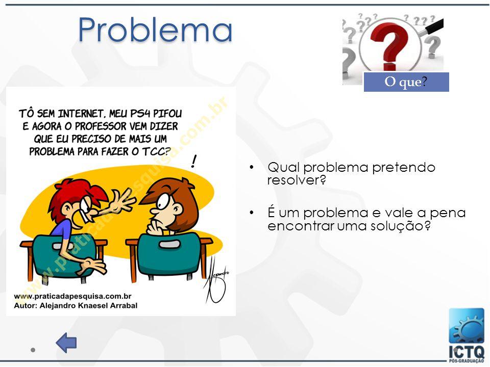 Problema Qual problema pretendo resolver? É um problema e vale a pena encontrar uma solução? O que?