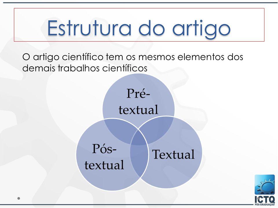 Estrutura do artigo Pré- textual Textual Pós- textual O artigo científico tem os mesmos elementos dos demais trabalhos científicos