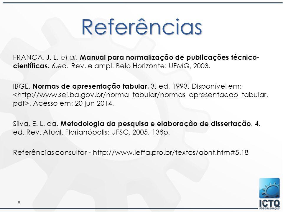 Referências FRANÇA, J. L. et al. Manual para normalização de publicações técnico- científicas. 6.ed. Rev. e ampl. Belo Horizonte: UFMG, 2003. IBGE. No