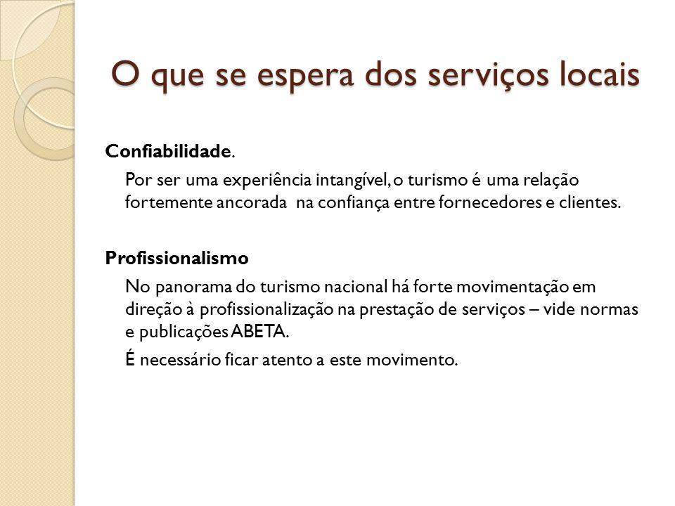 O que se espera dos serviços locais Confiabilidade.