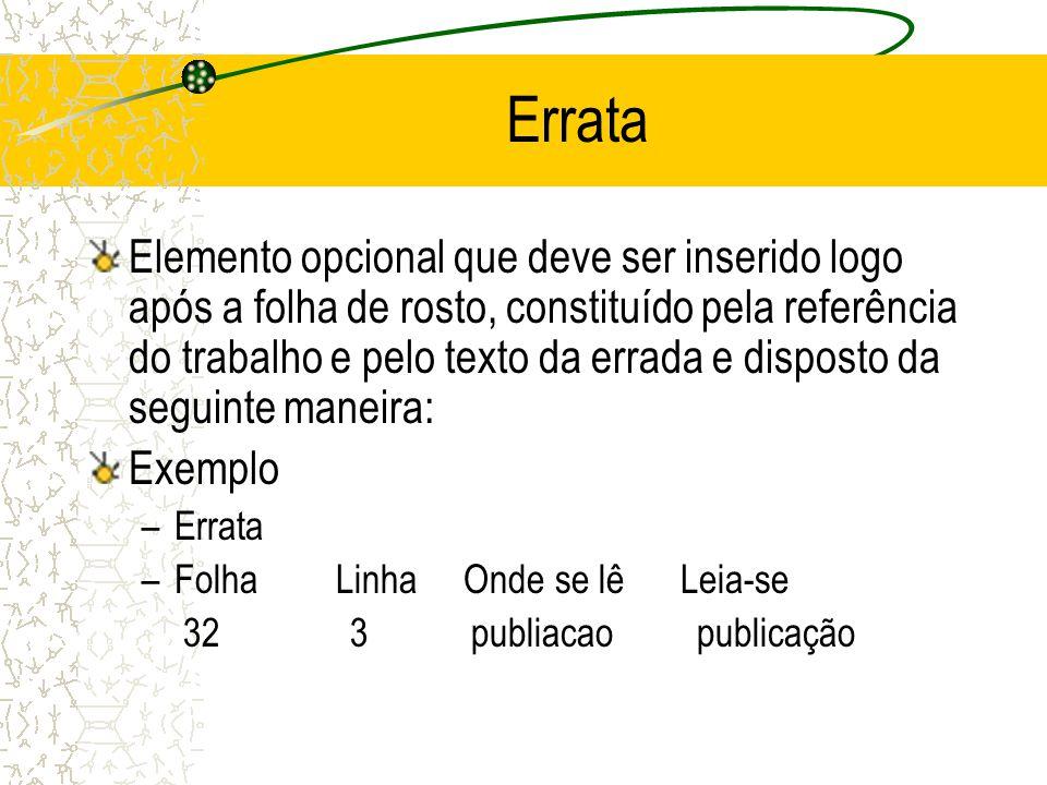 Errata Elemento opcional que deve ser inserido logo após a folha de rosto, constituído pela referência do trabalho e pelo texto da errada e disposto d