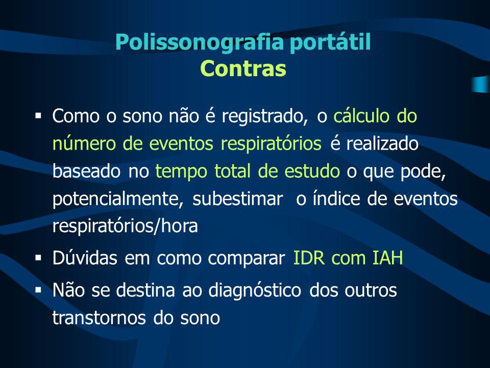Polissonografia portátil Contras  Como o sono não é registrado, o cálculo do número de eventos respiratórios é realizado baseado no tempo total de es