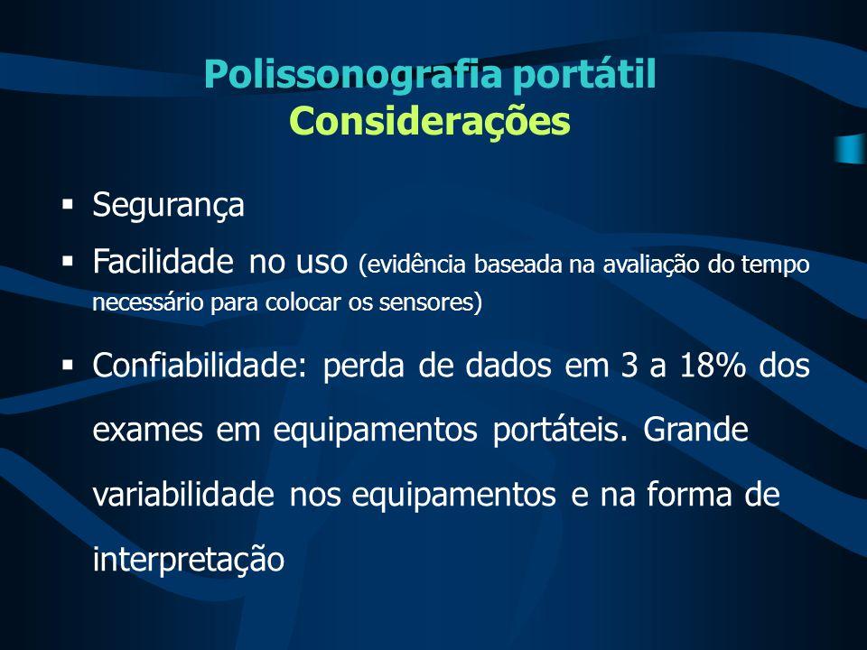 Polissonografia portátil Considerações  Segurança  Facilidade no uso (evidência baseada na avaliação do tempo necessário para colocar os sensores) 