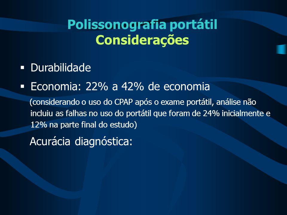 Polissonografia portátil Considerações  Durabilidade  Economia: 22% a 42% de economia (considerando o uso do CPAP após o exame portátil, análise não