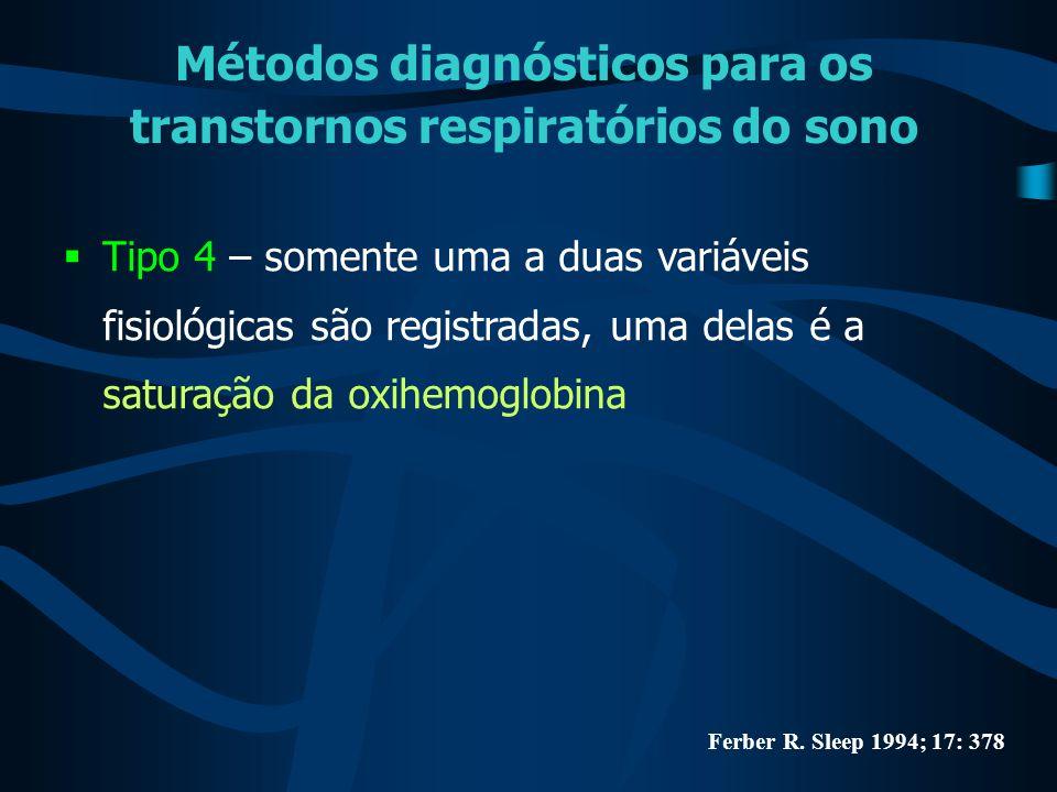 Métodos diagnósticos para os transtornos respiratórios do sono  Tipo 4 – somente uma a duas variáveis fisiológicas são registradas, uma delas é a sat