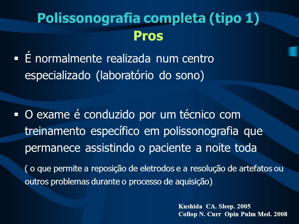 Polissonografia completa (tipo 1) Pros Kushida CA. Sleep. 2005 Collop N. Curr Opin Pulm Med. 2008  É normalmente realizada num centro especializado (