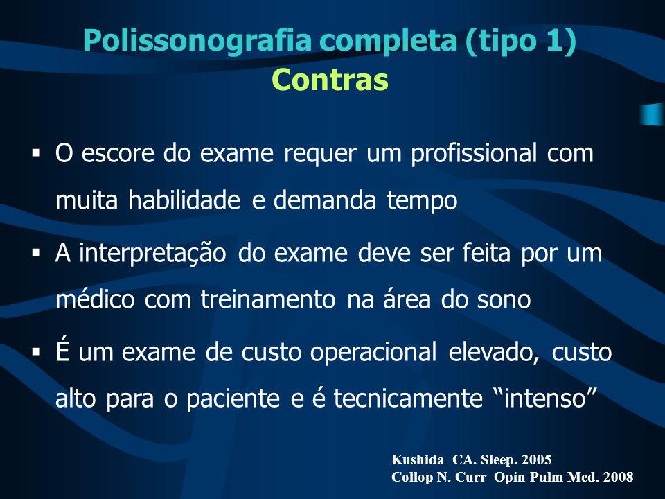 Polissonografia completa (tipo 1) Contras Kushida CA. Sleep. 2005 Collop N. Curr Opin Pulm Med. 2008  O escore do exame requer um profissional com mu