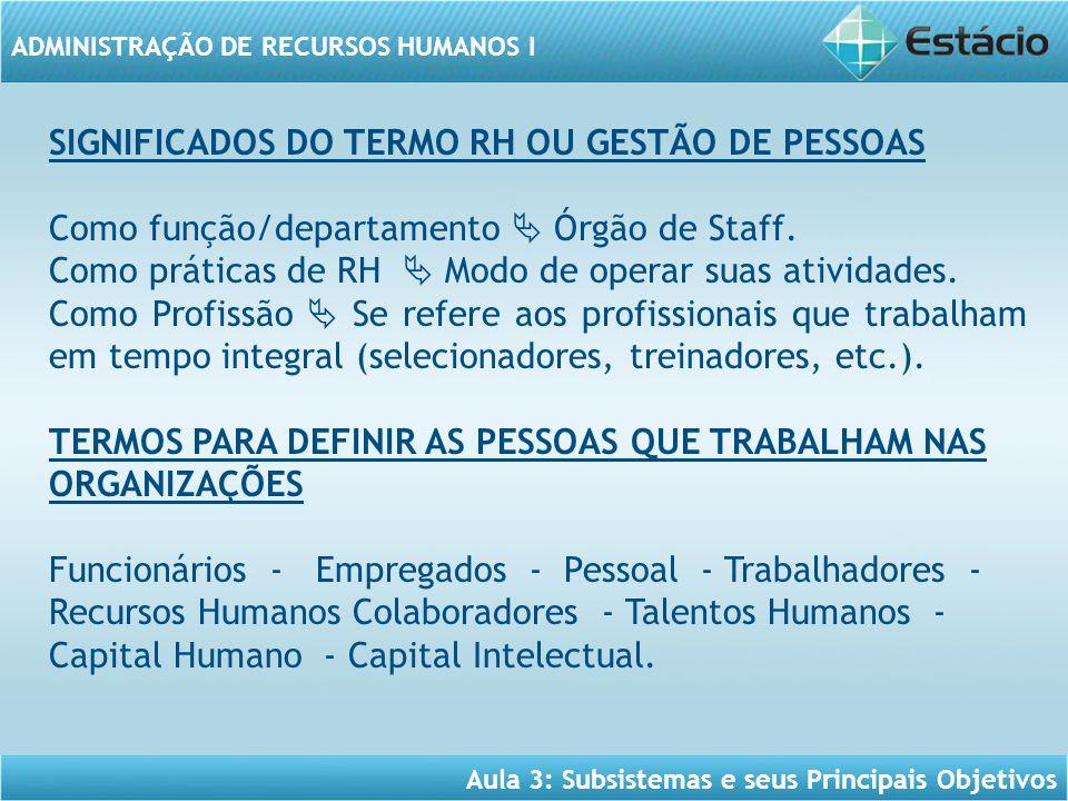 Aula 3: Subsistemas e seus Principais Objetivos ADMINISTRAÇÃO DE RECURSOS HUMANOS I SIGNIFICADOS DO TERMO RH OU GESTÃO DE PESSOAS Como função/departam