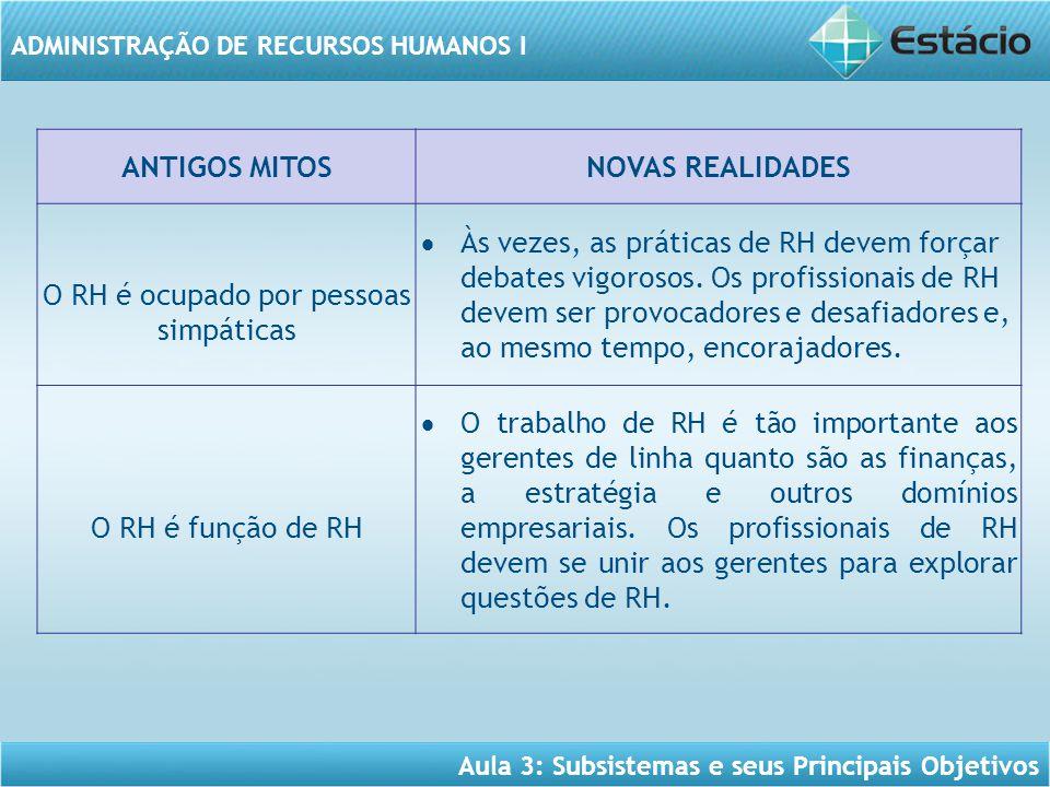 Aula 3: Subsistemas e seus Principais Objetivos ADMINISTRAÇÃO DE RECURSOS HUMANOS I ANTIGOS MITOSNOVAS REALIDADES O RH é ocupado por pessoas simpática
