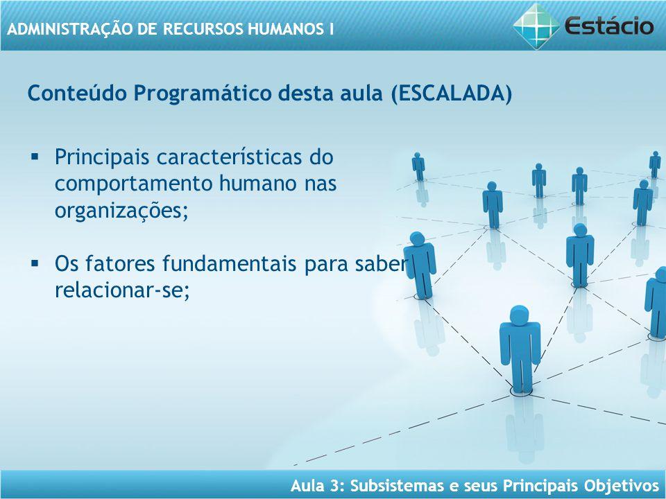 ADMINISTRAÇÃO DE RECURSOS HUMANOS I Conteúdo Programático desta aula (ESCALADA)  Principais características do comportamento humano nas organizações;
