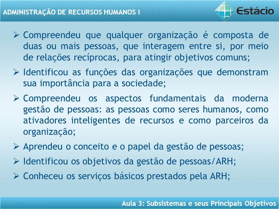 Aula 3: Subsistemas e seus Principais Objetivos ADMINISTRAÇÃO DE RECURSOS HUMANOS I  Compreendeu que qualquer organização é composta de duas ou mais