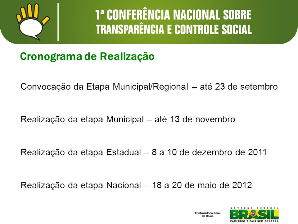 Cronograma de Realização Convocação da Etapa Municipal/Regional – até 23 de setembro Realização da etapa Municipal – até 13 de novembro Realização da etapa Estadual – 8 a 10 de dezembro de 2011 Realização da etapa Nacional – 18 a 20 de maio de 2012
